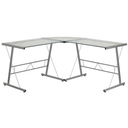 NAN-CD-22181-GG Glass L-Shape Computer Desk with Silver Frame