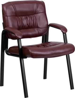 BT-1404-BURG-GG Burgundy Leather Guest / Reception Chair with Black Frame