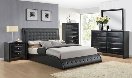 Tirrel 20657EK5PC Bedroom Set with Eastern King Size Bed + Dresser + Mirror + Chest + Nightstand in Black