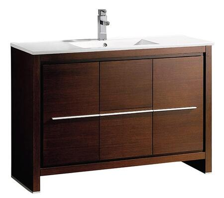 Allier FCB8148WG-I 48 inch  Single Sink Vanity with 2 Soft Closing Doors  2 Soft Closing Drawers and Integrated Sink in Wenge