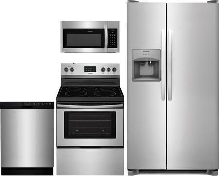 4-Piece Kitchen Package with FFSS2615TS 36 inch  Side by Side Refrigerator  FFEF3052TS 30 inch  Freestanding Electric Range  FFMV1645TS 30 inch  Over the Range Microwave Oven
