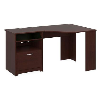 Cabot WC31415-03 Reversible Corner Desk with Simple Pulls  Holes for Wires and Filing Cabinet in Harvest Cherry