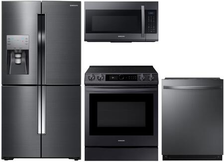 4-Piece Kitchen Package with RF23J9011SG 36 inch  Counter Depth French Door Refrigerator  NE58K9500SG 30 inch  Slide-in Electric Range  ME18H704SFG 30 inch  Over the Range