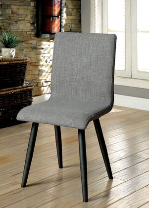 Vilhelm I Collection CM3360SC-2PK Set of 2 Mid-Century Modern Style Side Chair with Tapered Legs and Gray Linen-like Fabric in