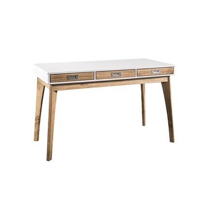 CS96208 Rustic Mid-Century Modern 3-Drawer Jackie Home Office Desk In White And Natural