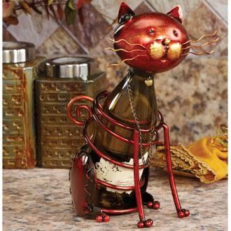DFA1867 Wine Bottle Holder - Cat in Golden
