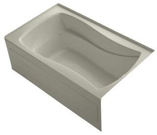K-1242-RAW-G9 60x36x20 Alcove Apron-Front Acrylic Soaking Bath Tub With Bask Heated Surface  Tile Flange And Right