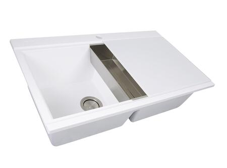 Plymouth Collection PR3420PS-W Large 34 inch  x 20 inch  Double Bowl Topmount Kitchen Sink with Granite Composite Construction  Tempered Glass Cutting Boards Included