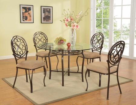 LILY-5PC SET LILY DINING 5 Piece Set - Clear Glass Table with 4 Taupe Traditional Style Side
