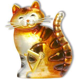 DFA1853 Magnet Clock - Cat in Brown