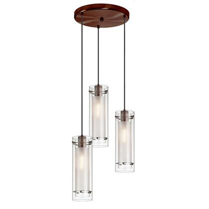12153R-CF-OBB 3 Light Round Pendant  Oil Brushed Bronze Finish  Clear Frosted