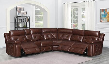 Chester Collection 603440PP 6-Piece Power Reclining Sectional Sofa with Top Grain Leather Upholstery  Adjustable Headrests  USB Charging Station and Console
