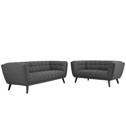 Bestow Collection EEI-2975-GRY-SET 2 PC Sofa and Loveseat Set with Dense Foam Padding  Non-Marking Foot Caps  Black Tapered Wood Legs and Polyester Upholstery