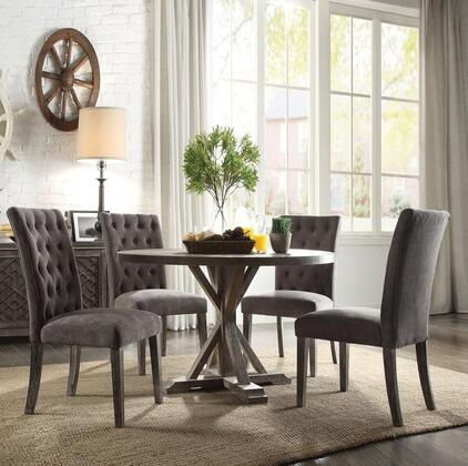 Carmelina Collection 70245SET 5 PC Dining Room Set with Round Shaped Dining Table and 4 Grey Fabric Upholstered Side Chairs in Weathered Grey Oak