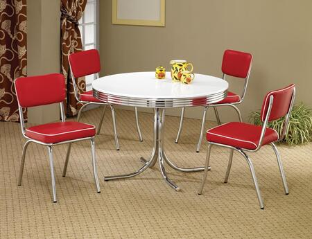 Cleveland 2388TRC 5 PC Dining Room Set with White and Chrome Color Round Dining Table + 4 Red Upholstered Side Chairs in Red and