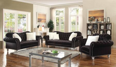 G709set 3 Pc Living Room Set With Sofa + Loveseat + Armchair In Black