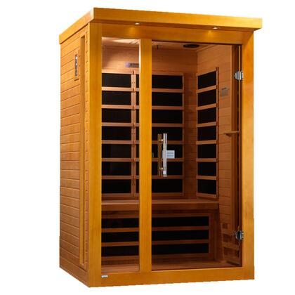 "Vienna Edition DYN-6215-01 75"" Far Infrared Sauna with 2 Person Capacity  6 Carbon Heating Elements  Chromotherapy Lighting and Tempered Glass"