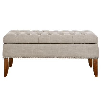 DSD107003619 Beige Hinged Top Button Tufted Storage Bed Bench In