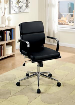 Mercedes CM-FC636S-BK Office Chair with Contemporary Style  Pneumatic Ht. Adjustable Seat  Padded Leatherette Chair  Chrome Base in