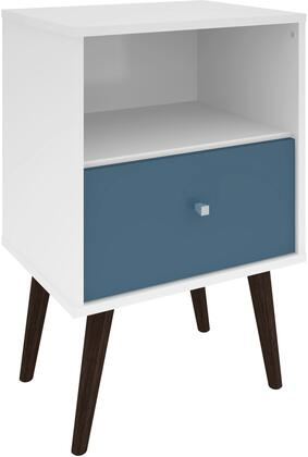 """Liberty Collection 203AMC64 18"""" Mid Century - Modern Nightstand 1.0 with Splayed Legs  1 Cubby Space and 1 Drawer in White and Aqua"""