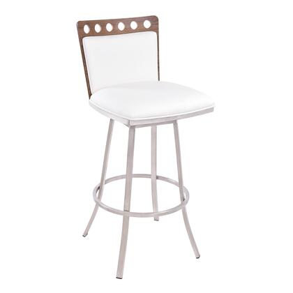 LCCOBAWH30 Coco 30 inch  Bar Height Swivel Barstool in Brushed Stainless Steel finish with White Pu and Walnut