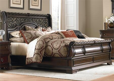 Arbor Place Collection 575-BR-QSL Queen Sleigh Bed with Rope Twist Mouldings  Scrolled Bracket Feet and Center Supported Slat System in Brownstone