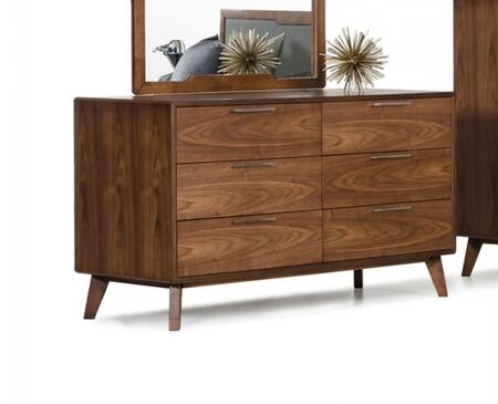 Nova Domus Soria Collection VGMABR-32-DRS 51 inch  Dresser with 6 Drawers  Stainless Steel Handles and Tapered Legs in