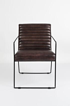 Wyatt Collection WYATT-CH-DARKSIENNA 18 inch  Accent Chair with Curved Frame  Iron Metal Construction and Genuine Leather Upholstery in Dark Sienna