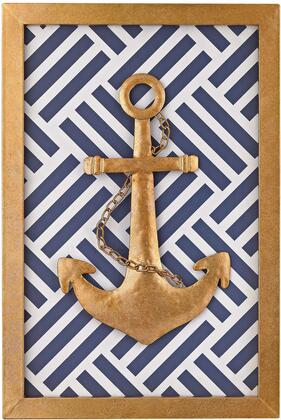 "Wall Decor Collection 3138-221 16"""" Nautical Wall Decor with Embossed Anchor Design  Rectangular Shape  Fabric and Metal Materials in Gold Leaf  Blue and White"" 521364"