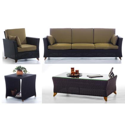 PR90-SET-K 4-Piece Patio Set with Sofa  Arm Chair  Coffee Table and Side Table in