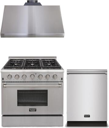 3-Piece Package With KRG3618U 36 inch  Gas Range  KRH3605U 36 inch  Under Cabinet hood and K6502D 24 inch  Dishwasher in Stainless