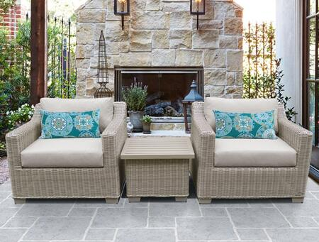 Coast Collection COAST-03a 3-Piece Outdoor Wicker Patio Furniture Set 03a with 2 Chairs and 1 End Table in 1 Cover Option: