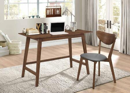 801095 2-Piece Desk Set with Writing Desk and Chair in Walnut
