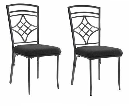 Burnett Collection Set of 2 Side Chairs with Black Linen Seat Cushion  Diamond Shaped Backrest  Front Tapered Legs and Powder Coating Metal Tube in Dark Grey