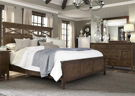 Hearthstone Collection 382-BR-KPBDM 3-Piece Bedroom Set with King Panel Bed  Dresser and Mirror in Rustic Oak