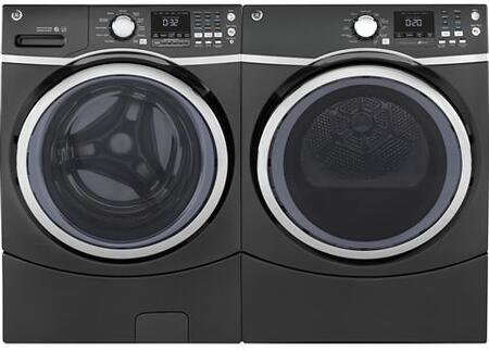Front Load Steam GFW450SPKDG 27 Washer with GFD45ESPKDG 27 Electric Dryer Laundry Pair in