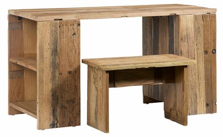 Easton Collection A210-71-41 2-Piece Desk Set with Desk and Bench in Reclaimed Elm