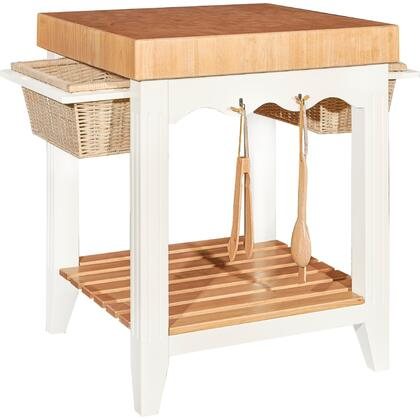 D1031d16 30 White Kitchen Island With Butcher Block Top  Two Basket Pull Out Drawers  Slat Bottom Shelf And Four Utensil
