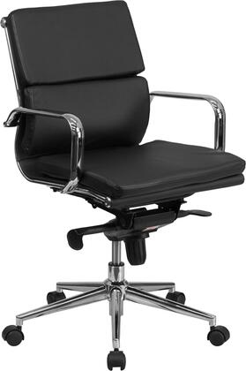 BT-9895M-BK-GG Mid-Back Black Leather Executive Swivel Office Chair with Synchro-Tilt