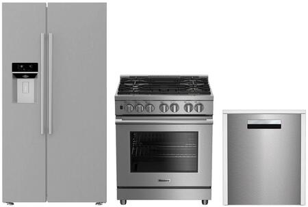 3-Piece Kitchen Package with BSBS2230SS 36 inch  Side by Side Refrigerator  BGRP34520SS 30 inch  Freestanding Gas Range  and a free DWT58500SS 24 inch  Built In Fully