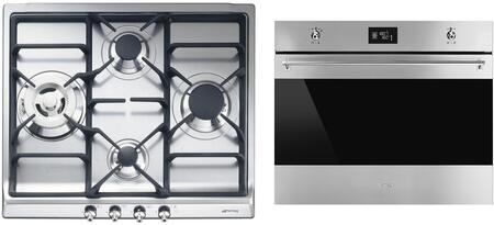 """Smeg 2 Piece Kitchen Package With SR60GHU3 24"""" Gas Cooktop and SC770U 27"""" Electric Single Wall Oven in Stainless"""
