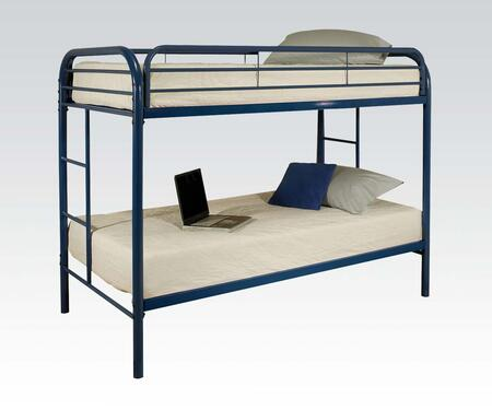 Thomas Collection 02188BU Twin Over Twin Bunk Bed with Built-In Side Ladders  Safety Rails and Solid Metal Construction in Blue