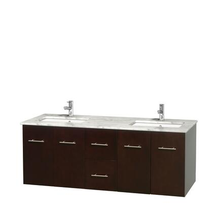 WCVW00960DESCMUNSMXX 60 in. Double Bathroom Vanity in Espresso  White Carrera Marble Countertop  Undermount Square Sinks  and No