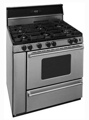 P36S3482PS 36 inch  Pro Series Gas Range with 6 Sealed Top Burners  Separate Broiler Compartment  17 000 BTU Oven Burner  Heavy Duty Cast Aluminum Griddle  Storage