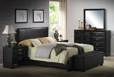 Ireland Iii Collection 14337ek6pc Bedroom Set With Eastern King Size Bed + Dresser + Mirror + 2 Nightstands + Storage Bench In Black