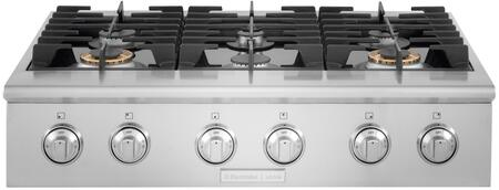 E36GC76PRS  36 inch  Gas Slide-In Cooktop with Dualflame Sealed Burner  Continuous Grates  and Professional-Style Large Knobs in Stainless