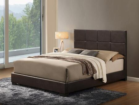 8566 ABC-QB Queen Size Panel Bed with Faux Leather Upholstery  Large Square Patterning  Clean Line Design  Low Profile and Block Feet in