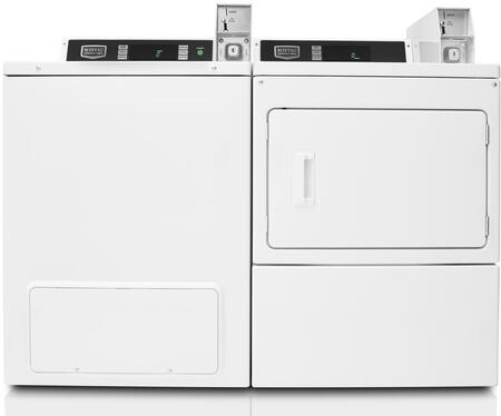 "White Commercial Laundry Pair with MVW18PDBWW 27"""" Top Load Washer and MDE18PDAYW 27"""" Front Load Electric"" 736355"