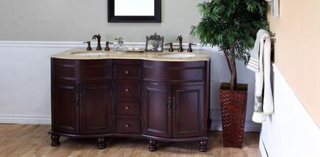 603316 62 inch  Double Sink Vanity - Wood - Walnut with Travertine