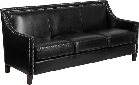 CH-US-173030-3-BK-GG Hercules Compass Series Transitional Black Leather Sofa With Walnut